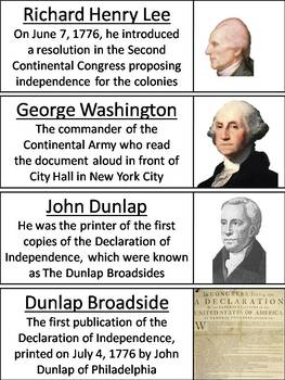 Declaration of Independence Word Wall Cards