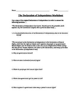 Government: Declaration of Independence Worksheet