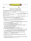 Declaration of Independence - Worksheet Packet and Lesson Plan with answer key