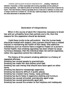 Declaration of Independence: Writing Project Example