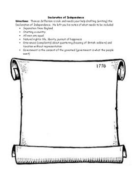 Declaration of Independence Writing Worksheet