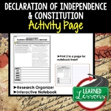 Declaration of Independence and Constitution Analysis Graphic Organizer