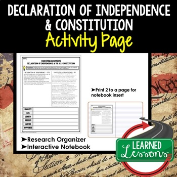 Declaration of Independence and Constitution Analysis Grap