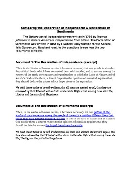 Declaration of Independence and Declaration of Sentiments Comparison DBQ