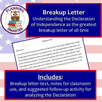 Declaration of Independence - breakup letter, unit introduction