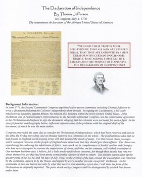 Declaration of Independence by Thomas Jefferson Questions