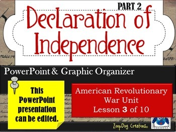 Declaration of Independence (part 2) PowerPoint and Graphic Organizer