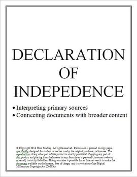 Declaration of Independence - primary source interpretation