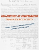 Declaration of Independence primary source translation and analysis activity