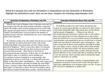 Declaration of Independence vs. Declaration of Sentiments