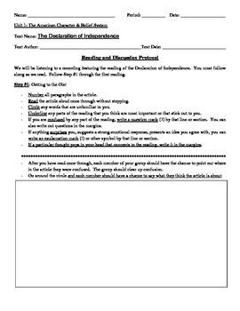 Declaration of Independence w/ Reading Protocol Worksheet