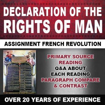 Declaration of Rights of Man Assignment French Revolution