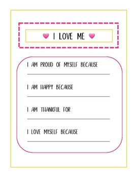 declaration of self love a fill in the blank printable tpt