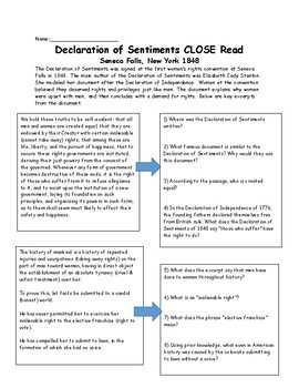 Declaration of Sentiments CLOSE read analysis