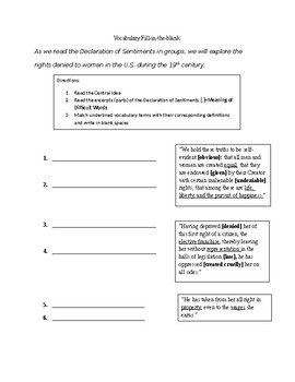 Declaration of Sentiments Graphic Organizer and Vocabulary Worksheet
