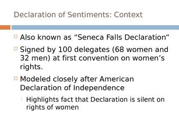 Declaration of Sentiments Rhetorical Analysis PPT