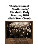 Declaration of Sentiments by Elizabeth Cady Stanton (Full-Text Cloze)