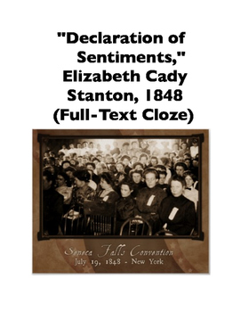 Declaration of Sentiments by Elizabeth Cady Stanton (Full-Text Cloze)