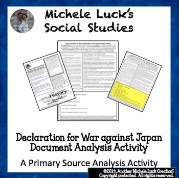 Declaration of War Against Japan 1941 WWII Document Analysis Activity WW2