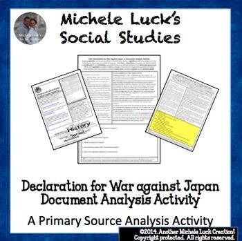 Declaration of War Against Japan 1941 WWII Document Analys
