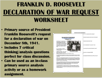"""Declaration of War"" - Franklin Roosevelt - WWII - USH/APUSH/Global"