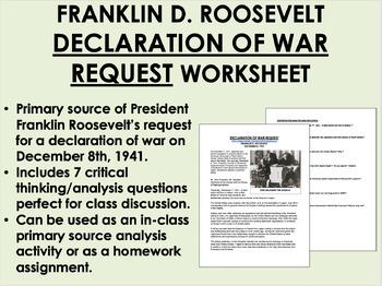 """Declaration of War"" - Franklin Roosevelt - WWII - USH/APU"