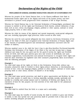 Declaration of the Rights of the Child Lesson