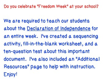 Declaration on Independence Pack (Freedom Week)