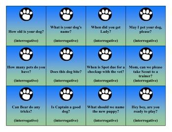 Declarative Dog Literacy File Folder Game / Center (Sentence Types)