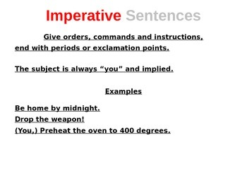 Declarative, Exclamatory, Interrogative and Imperative Sentences PowerPoint