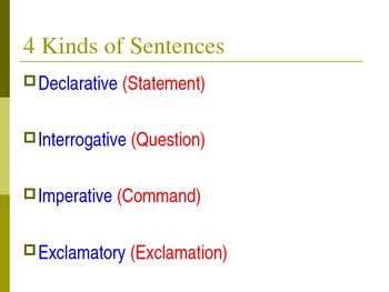 Declarative, Imperative, Interrogative, and Exclamatory Sentences