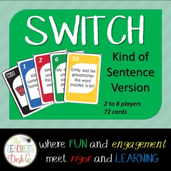 Declarative, Interrogative, Exclamatory, Imperative SWITCH ELA Card Game