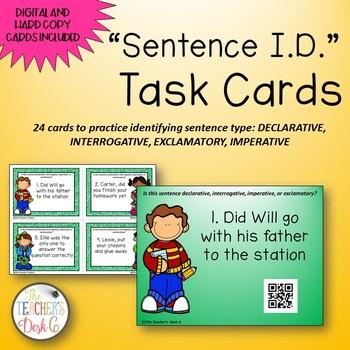 Declarative, Interrogative, Exclamatory, Imperative Task Cards