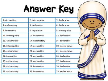 Declarative, Interrogative, Imperative, Exclamatory ZAP!... Mother Teresa Theme