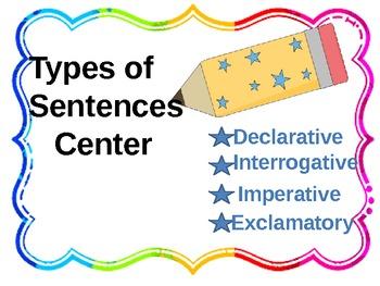 Declarative, Interrogative, Imperative, and Exclamatory Center/Task Cards