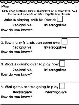 Declarative & Interrogative Sentence Practice Pack