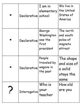 Declarative, Interrogative, and Exclamatory Sentence Memory Matching Game