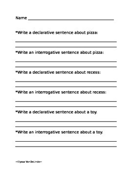 declarative and interrogative sentences worksheet by elyssa vandelinde. Black Bedroom Furniture Sets. Home Design Ideas