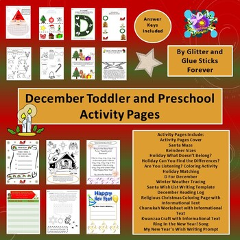 December Toddler and Preschool Activity Pages