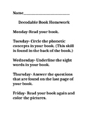 Decodable Book Homework