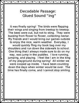 Decodable Passages with Glued Sound Words