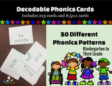 Decodable Phonics Cards for 50 Different Patterns
