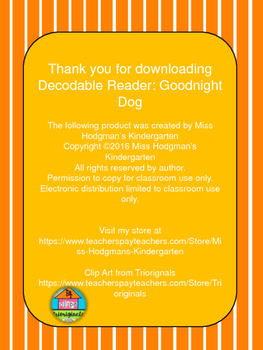 Decodable Reader: Goodnight Dog