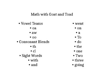Decodable Reader - Math with Goat and Toad