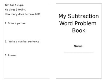 Decodable Reader Subtraction Word Problem Book
