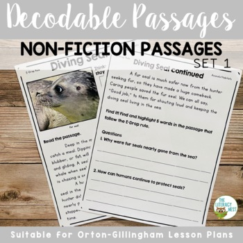 Decodable Reading Passages Non-Fiction Controlled Text and Comprehension Set 1