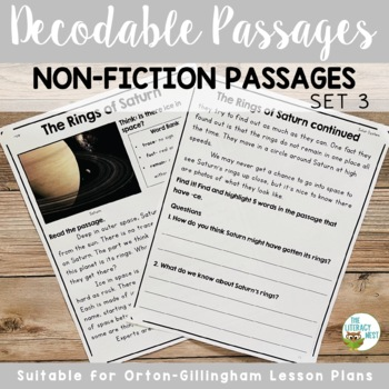 Decodable Reading Passages Non-Fiction Controlled Text and Comprehension Set 2