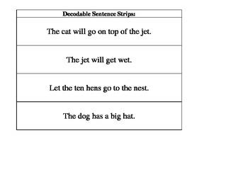 Decodable Sentence Strips- Decoding and Phonics