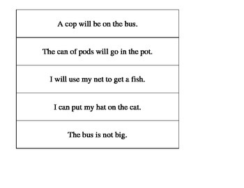 Decodable Sentence Strips- Decoding and Phonics