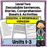 Decodable Stories,  Comprehension Sheets & Activities: Level Two, Units 1-3
